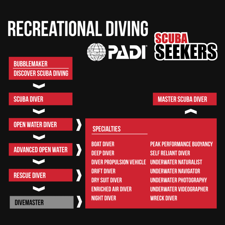 Recreational Diving Training - courses chart